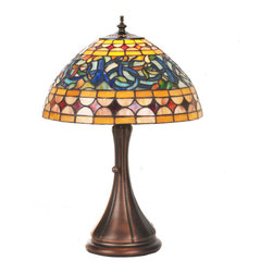 """Meyda - 18""""H Tiffany Tavern Accent Lamp - Bring stained glass beauty into your home with thislamp's intricate lines, greek scrollwork, red diamondsand beige strips. This lovely shade is complementedwith a warm mahogany bronze finish. Bulb type: med bulb quantity: 1 bulb wattage: 60"""