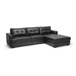 "Baxton Studio - Baxton Studio Dobson Black Leather Modern Sectional Sofa - Our Dobson Modern Sectional Sofa will get you the most bang for your buck! This 2-piece sofa and chaise lounge set is large enough to seat five or more and fits nearly any budget.  This Chinese-built couch features black bonded leather, firm foam cushioning, and a wooden frame.  We also include removable backrest cushions, black plastic legs with non-marking feet, and a connecting bracket between the sofa and chaise.  A hinged, flip-down backrest extension piece aids in more compact, secure shipping.  Minor assembly is required.  To clean, wipe with a damp cloth and dry immediately.  This designer sectional is also available in cream (sold separately). Overall Dimension: 114.5""W x 70.5""D x 34.5""HSofa : 73""W x 34.5""D x 34.75""H with seat dimension: 65""W x 20""D x 17.5""HRight Chaise Dimension: 41.5""W x 70.5""D x 34.5""H with seat dimension: 41.5""W x 55""D x 17.5""HArm Height: 23.75""H"