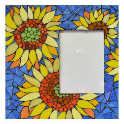 """NY MOSAIC ART - Glass Mosaic Photo Frame With Sunflowers - Handmade glass mosaic photo frame with sunflowers. Square frame 12""""x12"""" for picture size 5""""x7"""""""