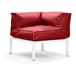 Zuo Modern - Zuo Modern Copacabana Corner in Red - Corner in Red belongs to Copacabana Collection by Zuo Modern The Copacabana collection is designed for funky versatility. This set has modular pieces of an armless chair, a corner armchair, an ottoman, and a table. The cover is made from a completely waterproof and UV resistant polyester fiber. The frame is made from an epoxy coated aluminum. The fill is 100% pure polystyrene beads. All the cushions can be attached via durable oversize zipper. Have fun with the cushions and throw them in the pool...they will float! Corner (1)