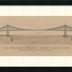 Amanti Art - Craig S. Holmes 'Brooklyn Bridge' Framed Art Print 40 x 17-inch - Dress up your decor with architectural art.  New York City's Brooklyn Bridge is the focus of this original architectural drawing by Craig Holmes.