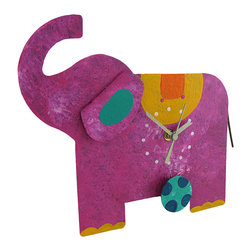 Zeckos - Fuschia Elephant Kicking Soccer Ball Pendulum Wall Clock Metal Art - This adorable clock combines a cute crafty design with timekeeping utility for a remarkable collectible time piece. Hand crafted from recycled metal materials, the clock takes on a uniquely artistic shape as a charming fuschia elephant. The body of the elephant forms the clock face for a quartz clock movement with a blue soccer ball pendulum swinging as the elephant kicks it around. The clock runs on 1 AAA battery (not included). A modest hand-painted finish completes the feel of home-style craftwork. The clock measures 11 inches long, 9 1/2 inches tall, and 2 1/2 inches deep. It may hang by a metal hanging bar on the reverse side. The clock may also be propped up on a kitchen or bathroom counter. This piece makes a unique crafty home accent as a useful, decorative timepiece.