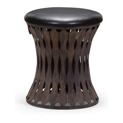 Zuo Modern Contemporary, Inc. - Thrash Stool Rusted metal frame & Black - Gracefully curved and cut metal slats make the Thrash Stool stunning. Made of rustic black metal with a leatherette cushion. Dark and distinct, it will complement wood paneling or floors.