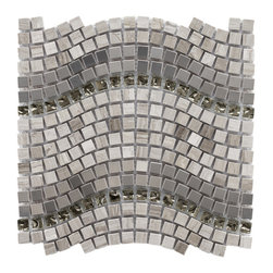 Somertile - SomerTile 12.25x11.75-inch Reflections Wave Mercury Glass/ Stone/ Metal Mosaic T - Spice up your living areas with this gray mosaic tile. The tile can be used for interior or exterior walls and comes in packs of 10. It has a blend of glass, metal, and stone that creates a wave pattern making it a unique addition to your home.