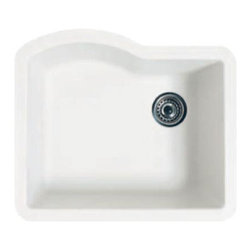 Swanstone - Swanstone Granite Single Bowl Kitchen Sink, Nero (QUSB-2522.077) - Swanstone QUSB-2522 Granite Single Bowl Kitchen Sink, Nero