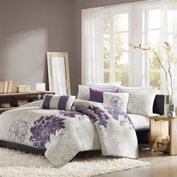 Madison Park - Madison Park Bridgette 6-piece Duvet Cover Set - Add a soft touch to your bedroom with this feminine,Madison Park bedding set. The machine-washable duvet set features a contemporary floral design that is ideal for shoppers who prefer subtle embroidered touches over full-blown patterns.