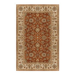 """Surya - Traditional Crowne Sample 1'6""""x1'6"""" Sample Terracotta-Beige  Area Rug - The Crowne area rug Collection offers an affordable assortment of Traditional stylings. Crowne features a blend of natural Terracotta-Beige  color. Hand Tufted of 100% Wool the Crowne Collection is an intriguing compliment to any decor."""