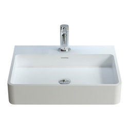 ADM - ADM Solid Surface Stone Resin Wall Hung SInk, Matte - White Wall Hung / Countertop Solid Surface Stone Resin Sink