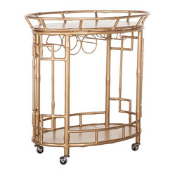 Society Social - The Hayworth Bar Cart - Channel your inner Nick and Nora with this chic and charming wrought iron bar cart. It features a removable top tray and stemware racks to make entertaining easier, so you can mix up cocktails with clever aplomb and delight guests with your retro style. Asta, sit!