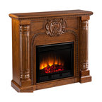 Holly & Martin - Carino Fireplace, Oak Finish, Electric - Hand-carved columns and a center medallion pair with a Salem antique oak finish in this electric fireplace that exudes character and style. To top it off, this fireplace requires no electrician or contractor for installation, allowing for instant remodeling without the usual mess or expenses.