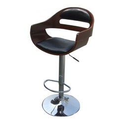 NPD (New Pacific Direct) Furniture - Lex Gaslift Barstool by NPD Furniture, Black/Walnut - This designer chair will make an attractive statement in the home. The height adjustable swivel seat adjusts from counter to bar height with the handle located below the seat. The chrome footrest supports your feet while also providing a contemporary chic design.