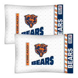 Store51 LLC - NFL Chicago Bears Football Set of Two Pillowcases - Features: