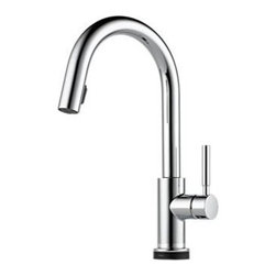 "Brizo - Brizo 64020LF-PC Chrome Solna Solna Kitchen Faucet Single Handle with - Solna Kitchen Faucet Single Handle with Multi-Functional Pull-Down Sprayer and Smart Touch Faucet Features:  Single handle, 2-function pull-down kitchen faucets for exposed mounting on single or three hole sinks SmartTouch  on/off functionality On-off indicator light also signals when batteries run low 16 3/32"" (411 mm) high, 9 3/32"" (231 mm) long, spout swings 360- Lever handle. Control mechanism shall be full-motion valve cartridge Quick connect hoses Pull-down wand operates in an aerated or spray mode via ergonomic button MagneDock  magnetic docking Dual integral check valves in sprayer Hose travels inside mounting shank so it will not interfere with deck edges Flow rate 1.8 gpm max  Brizo Faucet Technologies  ADA Compliant: Some people, and some local codes, require fixtures that are compliant with the Americans with Disabilities Act. MagneDock: MagneDock technology features a patented, state-of-the-art magnetic docking system. This system securely holds the spray wand in place when not in use. The durable magnets are made to last forever, while their polarity keeps the spray head perfectly aligned, for a clean, seamless look that maintains the faucet s distinctive form. Water Efficient Product meeting CALGreen standards:  Kitchen Faucets: Flow Rate of 1.8 gpm or 1.5 gpm versus Industry Standard ASME.A112.18.1/CSA.B125.1 of 2.2 gpm. Lavatory Faucets: Flow Rate of 1.5 gpm versus Industry Standard ASME.A112.18.1/CSA.B125.1 of 2.5 gpm. Showerheads and Handshowers: Flow Rate of 1.5 or 2.0 gpm versus Industry Standard ASME.A112.18.1/CSA.B125.1 of 2.5 gpm.  CA/VT Compliant: Product that meet California AB 1953 and Vermont S152 requirements."
