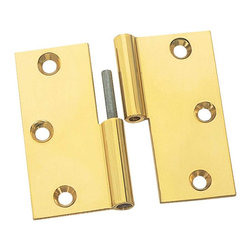 """Renovators Supply - Cabinet Hinges Bright Solid Brass Square 3 x 3"""" LOR Cabinet Hinge - We make our hinges from a solid block of brass for twice the thickness and strength of most hinges!  The wings are solid brass. Countersunk holes allow mounting screws to fit flush.  The baked-on finish is guaranteed against tarnish for 10 years of gleaming beauty.  The cylinder is precision-machined for a perfect fit and the stainless steel pin will never corrode or bind.  When the hinge is open flat it is 3"""" x 3"""".One pair of medium size finials fit each hinge.  This is a left lift-off hinge (with the door opening toward you, the knob should be on the left side)."""