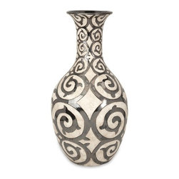 "Silver Nest - Cavort Tall Vase- 28.5""h - With a muted bronze pattern raised from a cream finished bodice, the tall Cavort oversized floor vase has a sophisticated and luxurious appeal."