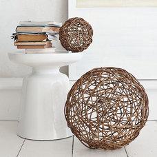 Contemporary Sculptures Wicker Core Spheres