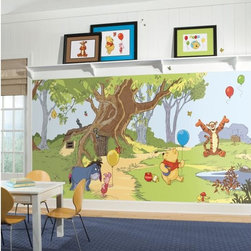 Roommates Decor - Pooh & Friends SureStrip Prepasted Mural - Invite the delightful world of Winnie the Pooh and his friends into your home with this XL wall mural. This prepasted mural will add life to your child's room in a whole new way. Featuring Pooh, Piglet, Eeyore, and Tigger, this is the perfect addition to any Pooh & Friends-themed nursery or bedroom. Be sure to check out our Winnie the Pooh wall decals for more fun!