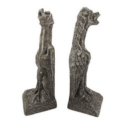 Large Concrete Gargoyle Dog Bookends Hounds Of Hell - In medieval times, ancient architects and stone carvers used gargoyles on buildings as a way to ward off evil spirits and bad luck. Made of cold concrete, this large pair of long-necked gargoyle dog bookends not only looks great, but they do a good job holding books up too. The bookends are 14 1/2 and 15 inches tall, respectively, are 4 3/4 inches wide and 5 inches deep. This pair also makes a great present for the holidays or for housewarming gifts. They look great on bookshelves and on top of desks or tables.