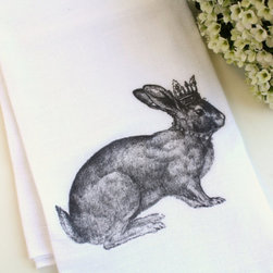 Easter Bunny Rabbit Flour Sack Tea Towel by Apple White - This is so stinkin' cute for Easter.