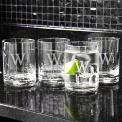 None - Custom Engraved Low-Ball Drinking Glasses (Set of 4) - Raise a glass to this magnificent lowball drinking glass set, which includes four double old fashioned drinking glasses.