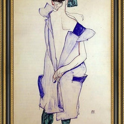 """Art MegaMart - Egon Schiele Standing Girl Blue Dress Green Stockings  Back View - 16"""" x 24"""" Egon Schiele Standing Girl in a Blue Dress and Green Stockings  Back View framed premium canvas print reproduced to meet museum quality standards. Our Museum quality canvas prints are produced using high-precision print technology for a more accurate reproduction printed on high quality canvas with fade-resistant, archival inks. Our progressive business model allows us to offer works of art to you at the best wholesale pricing, significantly less than art gallery prices, affordable to all. This artwork is hand stretched onto wooden stretcher bars, then mounted into our 3 3/4"""" wide gold finish frame with black panel by one of our expert framers. Our framed canvas print comes with hardware, ready to hang on your wall.  We present a comprehensive collection of exceptional canvas art reproductions by Egon Schiele."""