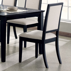 "Coaster - Lexton Collection Side Chair in Black, Set of 2 - Accentuate your dining room with the relaxed contemporary style of this side chairs. The creme chenille seat and seat back not only provide comfort, but compliment the deep distressed black finish. Arrange with the coordinating dining table for a complete dining room ensemble.; Transitional Style; Lexton Collection; Finish: Black; Fabric Color: Cream; No assembly required.; Dimensions: 22.5""L x 20""W x 39""H"