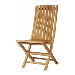 Anderson Teak - Unfinished Comfort Slat Back Folding Chair - Set of 2 - Bring home this attractive solid teak dining chair for your outdoor or indoor use and your décor will be happy.  It is unfinished for a natural look that is enjoyable and is easy to store with it's folding design.  Bring a traditional look to your outdoor space with these beautifully crafted patio folding chairs.  Slatted back is gently contoured for lumbar support.  Sink into this chair for a cozy comfortable feel that flows from the bottom of your seat to your shoulder blades. * Set of 2. Foldable. Slat back and seat design. Made from the finest solid Teak. No assembly required. Overall: 19 in. W x 18 in. D x 37 in. H (19 lbs.). Seat height: 19 in. Our folding chair is a very sturdy, very versatile side chair, which is the perfect complement to our table. This chair is claimed to be the most convertibles chair of our product. Made from the finest solid Teak, which is strong and durable; yet light enough to allow for easy storage. This is a beautiful and functional piece of furniture for your patio or terrace. This simple, lovely chair offers pleasure and comfort with each use.