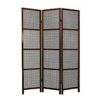 Oriental Furniture - 6 ft. Tall Miyagi Shoji Screen - 3 Panel - Walnut - With fine open lattice work and no rice paper shade, this Miyagi room divider is designed for defining space and creating interest rather than providing privacy. It is slightly heavier and more substantial than some rice paper shoji screens.