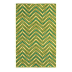 "Shaw Living - Indoor/Outdoor Area Rug: Chevron Green 7' 10"" x 10' 6"" - Shop for Flooring at The Home Depot. Fun, fresh and fabulous is the way to describe Al Fresco. This collection of 15 rugs combines the latest trends in outdoor design with knockout color, for a look certain to add pizzazz to your space. Crisp bright white, canary yellow, apple green, peacock turquoise, spicy orange and candy apple red come together for a palette that is infused with energy. These hues pair with popular designs, such as: whimsical paisley, modern chevron, stripes and floral patterns to create a space as vivid as its natural surroundings. With their fun aesthetic and unmatched durability, this collection can also be used in a teen room or stylish college dorm. Machine woven olefin, cut-pile construction. Sizes available: 5 ft. 3 in. x 7 ft. 10 in. and 7 ft. 10 in. x 10 ft. 6 in."