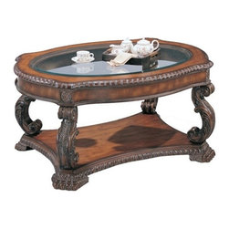 """CST3892 - Brown Antique Finish Wood Coffee Table With Glass Top Insert - Brown antique finish wood coffee table with glass top insert and hand carved accents.  Coffee table measures 46"""" x 36"""" x 22"""" H , End table measures 29"""" x 25"""" x 25 H, sofa table measures 58"""" x 22"""" x 30"""" H. Each piece is sold individually. Some assembly required."""