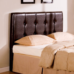 Coaster - Transitional Deep Brown Leather Queen Size Headboard - This headboard features a single trim row of button-tufted detailing. Its durable leather in deep brown has warm caramel accents at the seams for a textured aged look. Also available is a matching storage bench.