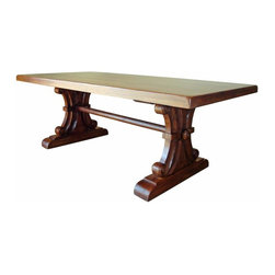Mission Solid Wood Dining Table - This is the real thing!  Solid wood. I mean SOLID WOOD!  Heavy and each piece different than the last.  The tops are 3 inches thick.  Check out the base!  All hand carved and each one slightly different.  This style can go with almost everything.  These are really popular so wait times can be up to 120 days.  Your table will look similar to the table in the picture but not exactly the same.  See MORE PICTURES for pics of the base. Just buy it!