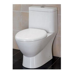 Eago - Dual Flush Eco Friendly Ceramic Toilet - Includes soft closing toilet seat, lid and wax ring. Dual flush 1.6 gpf and 0.8 gpf. One piece toilet. European design. Powerful and efficient 3 in. flushing valve. Wide water surface. A large surface area keeps odors down and allows for easy cleaning. Balanced water distribution. Large 2 in. fully glazed trap. Big jet hole. Elongated shape. Floor mounted installation. Warranty: five year limited on all porcelain parts and one year on flushing mechanism and toilet seat. Made from porcelain. White finish. Seat height: 15.38 in.. Overall: 26.75 in. W x 14.13 in. D x 27.13 in. H (87 lbs.). Owners ManualSo simple yet so genius. The Future of American Toilets. Not only does it look so much better than your old toilet, it also works a whole lot better. Reduces the number of problems typically associated with older ball-chain-flapper systems. Designed to maintain the optimal balance between an increased diameter and proper exit velocity. Fully glazing the trap way ensures that waste flows smoothly to the exit with a single flush, each time. Only One Flush. The Most Advanced Flushing System.