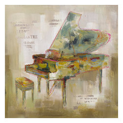 Yosemite Home Decor - Paris Piano Art - You don't have to be a musicians to have an appreciation for music and the instruments that make it. This painting features a grand piano with spots of color in shades of tan, green, blue, mustard, and red. The background is varying shades of beige with stamped writing.