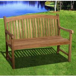 Belfast Teak Bench - 4 ft. - Spruce up your outdoor space or add a natural touch to any transitional area with the Belfast Teak Bench - 4 ft.. This classically styled bench is made of solid teak wood, an environmentally friendly wood that is easily renewable. The bright, natural color makes it stand out in any space and facilitates and easy blend to any existing decor. For indoor or outdoor use, this bench won't fade, crack, or rot from season to season.
