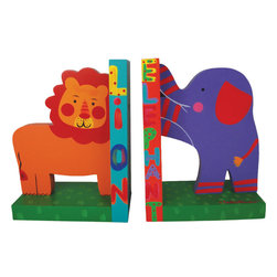 RR - Jungle Animals Wooden Bookends - Jungle Animals Wooden Bookends