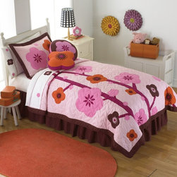 Pem America - Pem America Flowers for Hanna Quilt Set Multicolor - QS6172TW-2300 - Shop for Bedding Sets from Hayneedle.com! Hot pink and chocolate brown flowers make the Pem America Flowers for Hanna Quilt Set a gorgeous addition to any little girl's room. This beautiful quilt is hand-pieced from individually dyed sections of fabric for a durable high-quality construction. It's made from 100% cotton fabric with 100% cotton fiber fill and is pre-washed for a super-soft cozy feel right out of the package. This quilt set is also machine washable for easy care.Quilt Set Components:Twin: Quilt 1 pillow shamFull/Queen:Quilt 2 pillow shamsDimensions:Twin Quilt: 86L x 68W inchesFull/Queen Quilt: 86L x 86W inchesPillow Shams: 26L x 20W inchesAbout Pem AmericaMakers of high quality handcrafted textiles Pem America Outlet specializes in bedding that enhances your comfort and emphasizes the importance of a good night's rest. Quilts comforters pillows and other items for the bedroom are made with care and craftsmanship by Pem America. Their products cover a wide range of materials styles colors and designs all made with long-lasting quality construction and soft long-wearing materials. Details like fine stitching embroidery and crochet decorations and reinforced seaming make Pem America bedding comfortable and just right for you and your family.