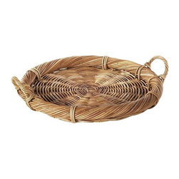 Eco Displayware - Medium Rattan Brie Tray in Natural - Earth friendly. 14.5 in. Dia x 2.5 in. H (1.91 lb.)Using these tray baskets can add an old world touch to your dining table.