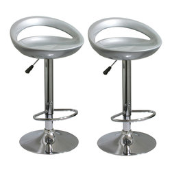 Buffalo Tools - AmeriHome 2 Piece Bar Stool Set - Silver - 2 Piece Bar Stool Set - Silver by AmeriHome Add a bit of whimsy to your kitchen, bar, game room, basement, or shop with the AmeriHome 2 Piece Bar Stool Set in glossy silver. A sleek and fun silhouette with a polished mirror-like chrome base and a pearly silver molded seat give these bar stools an ultramodern look. These bar stools are designed with comfort in mind. With large 18.5 inch diameter molded ABS plastic 360 degree swivel seats, built in footrests and backrests, and an adjustable seat height of 24 to 32.5 inches. Great features that make these bar stools comfortable for everyone. Set includes 2 glossy silver bar stools Adjustable seat height from 24 to 32.5 in. Maximum seat back height of 38 in. 18.5 in. wide ABS plastic 360-degree swivel seat 330 lbs. weight capacity each