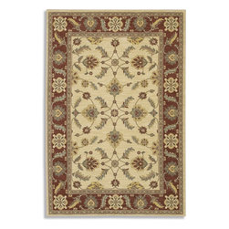"""Karastan - Sierra Mar Sedona Ivory Henna Oriental 5'6"""" x 8'3"""" Karastan Rug (33003) - Comfortable, weathered, easy to live with color, is the signature style of the Sierra Mar collection, with relaxed patterns that complement both traditional and modern design. Woven in the U.S.A., the pure New Zealand worsted wool yarns have been specially twisted and space-dyed to create artful color 'stria' reminiscent of fine hand woven 'Peshawar' rugs."""