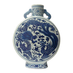 Golden Lotus - Chinese Blue & White Porcelain Flat Round Phoenix Dragon Vase - This is a traditional Chinese decoration vase in blue & white color with detail combination of oriental lotus flower pattern and phoenix & dragon theme. ( some blurry on the graphic )