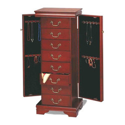 Adarn Inc - Traditional Cherry Louis Philippe Jewelry Armoire Chest 7 Drawers Organizer - This Louis Philippe style jewelery armoire is the perfect complement to your traditional home. A vibrant cherry finish and antiqued brass look decorative ring pulls lend classic appeal to this jewelry chest. Side doors run the length of the armoire and feature four tiers of hooks for keeping necklaces and chains untangled. Pull out drawers line the chest's front and offer additional space for stowing scarves, hairpieces, earrings, bracelets and more. A framed top and bracket feet define the chest's classic shape and conclude it's conventional design with a simple yet elegant flourish.