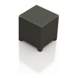 Forever Patio - Barbados Outdoor Wicker End Table, Ebony Wicker - The Forever Patio Barbados Modern Patio End Table (SKU FP-BAR-ET-EB) is an excellent addition to any Barbados patio set, providing a functional table space with lots of style. The UV-protected, ebony-colored wicker sports a flat woven design, creating a contemporary look with clean lines. Each strand of this outdoor wicker is made from High-Density Polyethylene (HDPE) and is infused with its rich color and UV-inhibitors that prevent cracking, chipping and fading ordinarily caused by sunlight. This outdoor wicker end table is supported by thick-gauged, powder-coated aluminum frames that make it more durable than natural rattan. A tempered glass table top is included with this table, adding an extra touch of modern style to your wicker outdoor dining table.