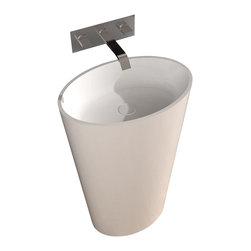 ADM - ADM White Solid Surface Stone Resin Pedestal Sink, Matte - DW-188W