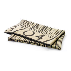 Barcode Throw - A unique home accessory that is sure to start conversation. A whimsical print with classic colors makes it easy to sneak a cheeky accessory into modern decor. Wool material keeps you toasty year-round.