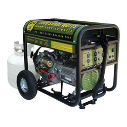 New Buffalo Corp. - Sportsman Series Propane 7000 Watt Generator - The Sportsman Propane 7000 Watt Portable Generator can power common household appliances and power tools. It is equipped with four 120 volt outlets, a 12 volt DC outlet for battery charging, and a 120/240 volt outlet. Use this generator immediately with the recoil start or install a motorcycle battery (not included) to activate the electric start feature. A generator of this size is ideal for camping and running essential household appliances during power outages.