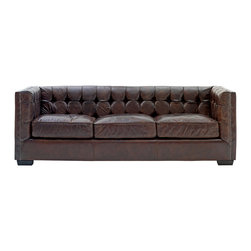 Kathy Kuo Home - Owen Rustic Lodge Vintage Brown Leather Arm Sofa - This is the stunning sofa you've been hunting for.  The vintage Owen leather couch combines a button tufted back and raised sides with three gorgeous leather bound cushions for the perfect balance of hip and retro. We love the high arm design that lets you sink deep down into the sleek cushions below.