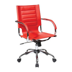 Ave Six - Trinidad Office Ergonomic Chair - Attractive and functional office chair. Adjustable height and tilt for ergonomic support. PVC covered arms for comfort. PVC seat and back. Made from PVC and chrome. One year warranty. Assembly required. Seat width: 18.25 in.. Seat depth: 16 in.. Seat height: 17.5 in. - 22.25 in.. Back: 18.25 in. W x 19.25 in. D. 21.75 in. W x 22.75 in. D x 36 in. - 40.75 in. H (58 lbs.)