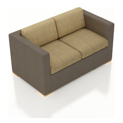 Harmonia Living - Element Sling Modern Outdoor Loveseat, Heather Beige Cushions - The Harmonia Living Element Sling Patio Loveseat with Tan Sunbrella cushions (SKU HL-ELE-LS-HB) features clean lines, premium Textilene sling fabric and brushed aluminum feet, giving your outdoors a fantastic modern look. The Textilene sling fabric has a Taupe finish and is created to have long-lasting color that's fade-resistant and cannot be stripped off. Underneath the sling is a sturdy, thick-gauged aluminum frame that is powder coated, making it incredibly corrosion resistant. The outdoor sling seats are reinforced to prevent excessive stretching, ensuring you and your guests can sit securely each time. The sofa includes seat and back cushions covered in fade- and mildew-resistant Sunbrella fabric, which is available in Canvas Heather Beige.