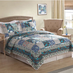 Pem America - Day by Day Groton Twin Quilt with Pillow Sham - - Rich looks from remote locations come to mind when you look at Groton. This parch work print brings in complex designs and unique colors into your bedroom. Includes 1 twin size quilt 68x86 inches and 1 pillow sham.  - 100% microfiber polyester face and reverse. Filled with 50% cotton / 50% polyester.  - Machine washable. Pem America - QS8541TW2600